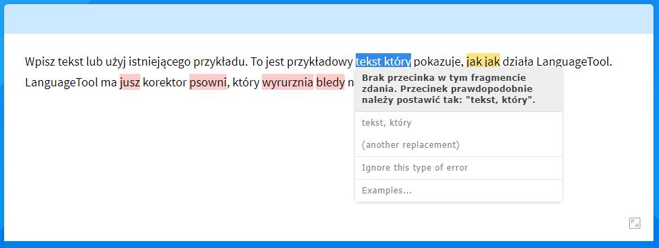 LanguageTool przykład